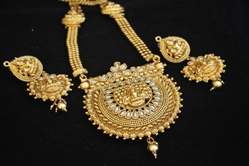 Fine Detailed Goddess Laksmi Long Necklace set in Pearls