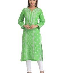 Green hand embroidred cotton lucknow chikankari Kurti