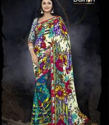 Buy lookslady beige semi chiffone saree printed-saree online