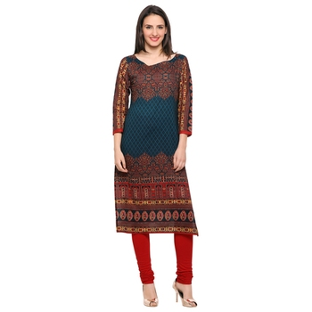 Multicolorcolor printed cotton stitched kurti