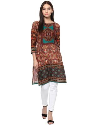 Multicolorcolor printed cotton stitched kurti