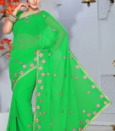Buy Green Faux Georgette Party Wear Saree with Blouse georgette-saree online