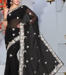Buy Black Color Faux Georgette Saree with Blouse georgette-saree online