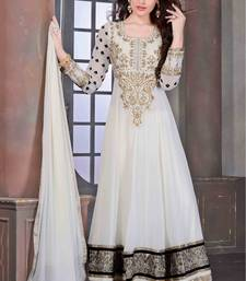 Buy White embroidered georgette semi stitched anarkali dress anarkali-salwar-kameez online