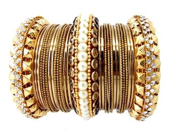 567db05ec Royal Look Maroon Silk Thread Kundan Pearl 27 pc Bangle Chuda ...