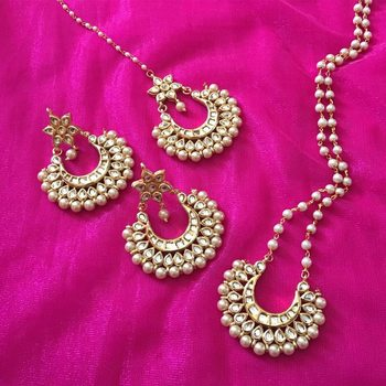 Kundan and Pearls Necklace set with earrings and tikka