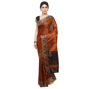 Copper plain semi tussar silk saree with blouse