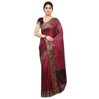 Wine plain semi tussar silk saree with blouse