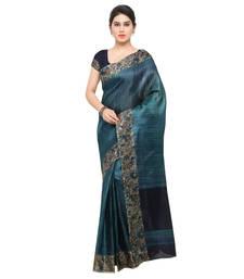 Teal plain semi tussar silk saree with blouse
