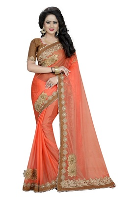 peach Patch Work Lycra saree with blouse