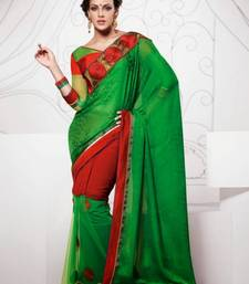 Buy Green & Red Color Satin & Net Saree DCS40022 satin-saree online
