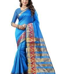 Buy Firozi printed tussar silk saree with blouse tussar-silk-saree online