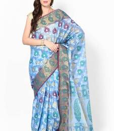 Buy Organza cotton silk stripe banarasi contrast saree organza-saree online