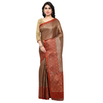 Brown printed tussar silk saree with blouse