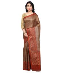 Buy Brown printed tussar silk saree with blouse kalamkari-saree online
