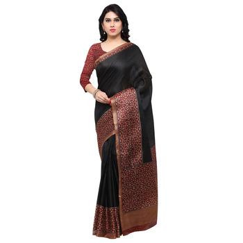 Black printed tussar silk saree with blouse