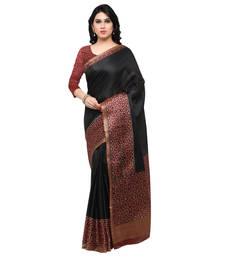 Buy Black printed tussar silk saree with blouse kalamkari-saree online