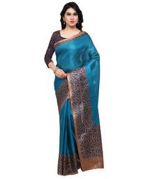 Buy Blue printed tussar silk saree with blouse kalamkari-saree online
