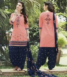 Buy Peach embroidery cotton semi stitched punjabi ladies suit punjabi-suit online