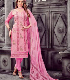 Buy Rose embroidered cotton unstitched salwar with dupatta salwars-and-churidar online