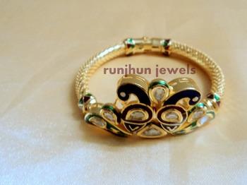 kundan peacock bracelet