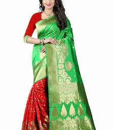Buy Green hand woven cotton silk saree with blouse patola-sari online