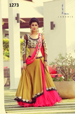 Yellow Color women's georgette semi-stitched dupatta with lehenga