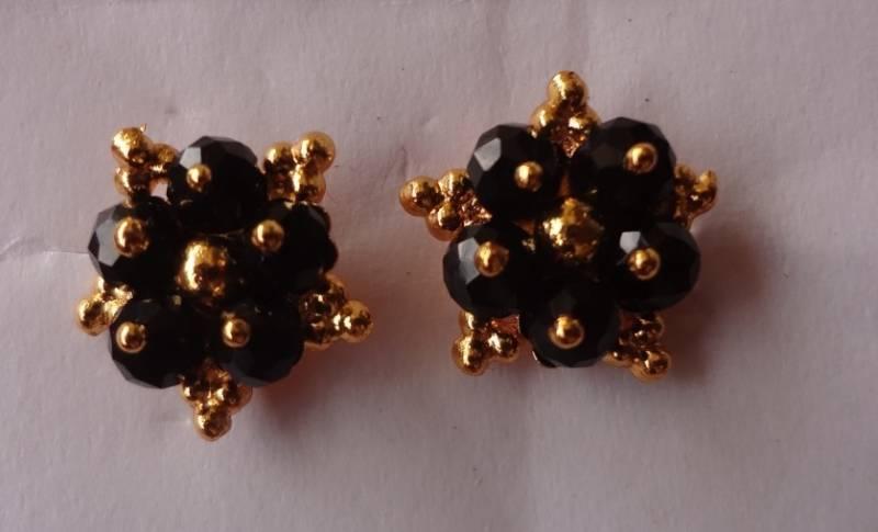 Black Golden Bead Kanthi Mala With Earrings