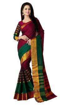 bf8bc560eb Green Sarees Online | Buy Green Color Saree with Golden Border ...