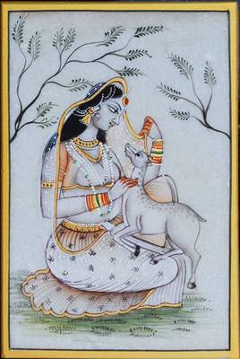 eCraftIndia Ragini Marble Painting playing with Calf