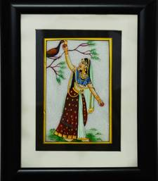 Buy eCraftIndia Ragini with Peacock Marble Painting (Wooden Framed) wall-art online