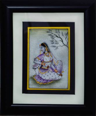 eCraftIndia Gorgeous Ragini Painting with Swan (Wooden Framed)