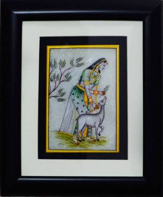 eCraftIndia Pretty Ragini Marble Painting playing with Calf (Wooden Framed)