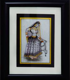 Buy eCraftIndia Charming Ragini Marble Painting with pot and Calf (Wooden Framed) wall-art online