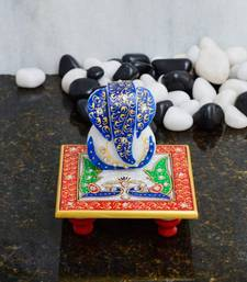 Buy eCraftIndia Glorious Lord Ganesha with Peocock on Marble Chowki sculpture online