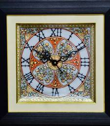 Buy eCraftIndia Glorious Marble Wall Clock with LED & Wooden Frame wall-clock online