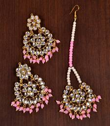 Buy Pink jade danglers-drops jewellery-combo online