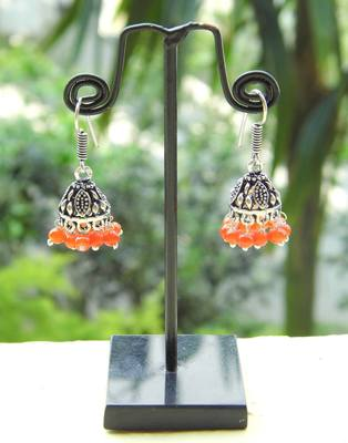 Oxidized Metal Jhumkas/Jhumkis-Orange Beads