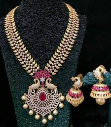 Ruby And Zirconia Stones Necklace Set With Jhumkas