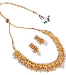 Buy White Pearl Brass necklace-sets necklace-set online