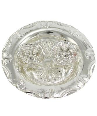 Silver Plated Haldi Kunku Karand And Kankavati And Kumkum Pooja Thali Set