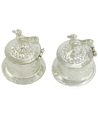 Silver Plated Two Separate Haldi Kunku Karand And Kankavati And Kumkum Pooja Thali Set