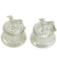 Silver Plated Two Separate Haldi Kunku Karand And Kankavati And Kumkum Pooja Thali Set