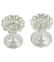 Set Of Two Devdas Silver Plated Oil Pooja Lamp And Diya And Niranjan