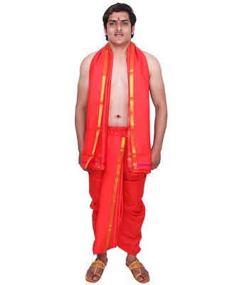 Catlon silk blood red  fabric free size men's art dhoti and angavastram set