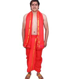 Catlon Silk Blood Red  Fabric Free Size Men'S Art Dhoti And Angavastram Set