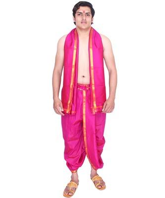 Catlon silk fuchsia  fabric free size men's art dhoti and angavastram set
