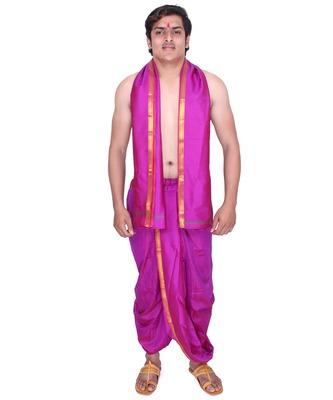 Catlon Silk Magenta  Fabric Free Size Men'S Art Dhoti And Angavastram Set