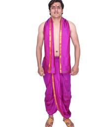 Catlon Silk Magenta  Fabric Free Size Men'S Art Dhoti And Angavastram Set