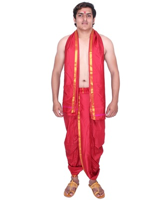 Catlon silk maroon  fabric free size men's art dhoti and angavastram set
